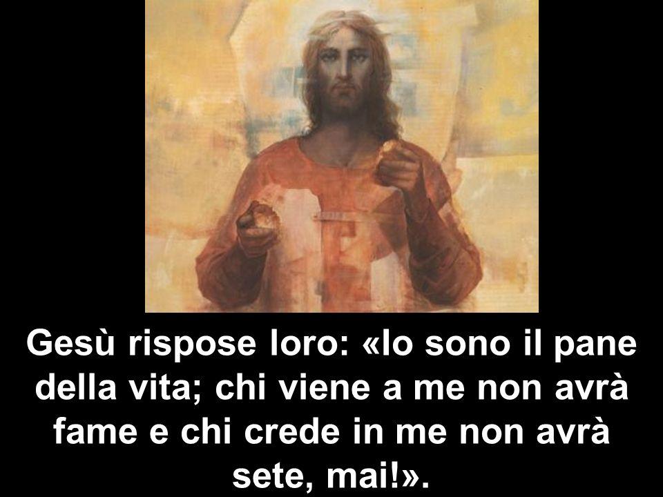 Gesù rispose loro: «Io sono il pane della vita; chi viene a me non avrà fame e chi crede in me non avrà sete, mai!».
