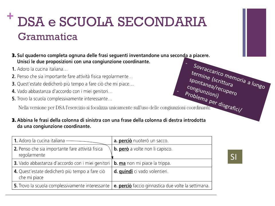 + DSA e SCUOLA SECONDARIA Grammatica -Sovraccarico memoria a lungo termine (scrittura spontanea/recupero congiunzioni) -Problema per disgrafici/ disor