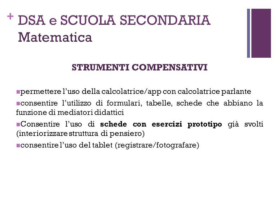 + DSA e SCUOLA SECONDARIA Matematica STRUMENTI COMPENSATIVI permettere l'uso della calcolatrice/app con calcolatrice parlante consentire l'utilizzo di