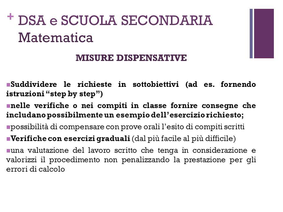 """+ DSA e SCUOLA SECONDARIA Matematica MISURE DISPENSATIVE Suddividere le richieste in sottobiettivi (ad es. fornendo istruzioni """"step by step"""") nelle v"""