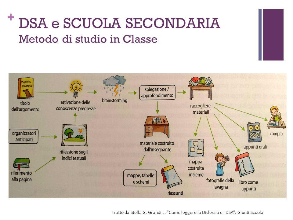 """+ DSA e SCUOLA SECONDARIA Metodo di studio in Classe Tratto da Stella G, Grandi L. """"Come leggere la Dislessia e I DSA"""", Giunti Scuola"""