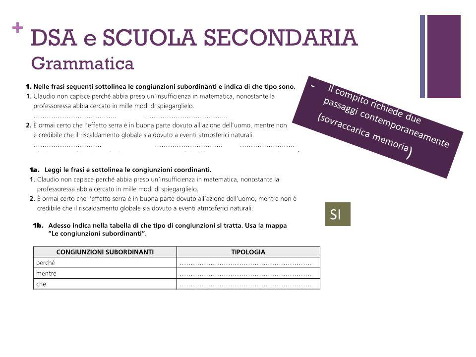 + DSA e SCUOLA SECONDARIA Grammatica - Il compito richiede due passaggi contemporaneamente (sovraccarica memoria ) SI