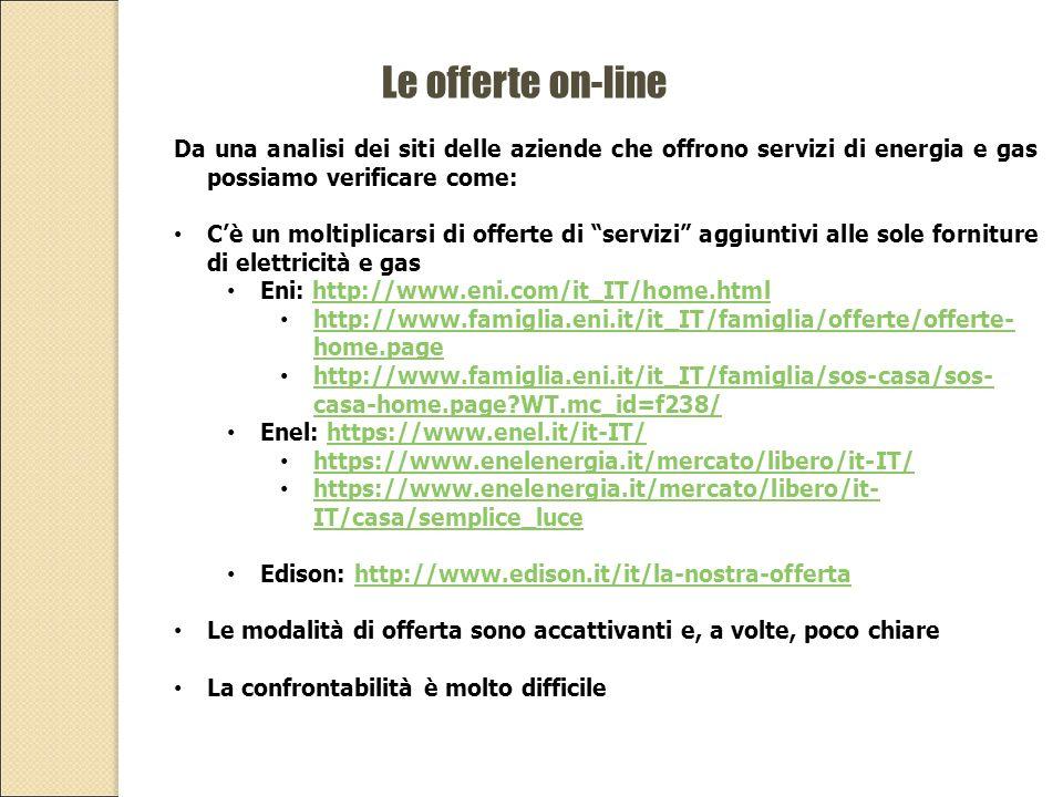 Le offerte on-line Da una analisi dei siti delle aziende che offrono servizi di energia e gas possiamo verificare come: C'è un moltiplicarsi di offerte di servizi aggiuntivi alle sole forniture di elettricità e gas Eni: http://www.eni.com/it_IT/home.htmlhttp://www.eni.com/it_IT/home.html http://www.famiglia.eni.it/it_IT/famiglia/offerte/offerte- home.page http://www.famiglia.eni.it/it_IT/famiglia/offerte/offerte- home.page http://www.famiglia.eni.it/it_IT/famiglia/sos-casa/sos- casa-home.page WT.mc_id=f238/ http://www.famiglia.eni.it/it_IT/famiglia/sos-casa/sos- casa-home.page WT.mc_id=f238/ Enel: https://www.enel.it/it-IT/https://www.enel.it/it-IT/ https://www.enelenergia.it/mercato/libero/it-IT/ https://www.enelenergia.it/mercato/libero/it- IT/casa/semplice_luce https://www.enelenergia.it/mercato/libero/it- IT/casa/semplice_luce Edison: http://www.edison.it/it/la-nostra-offertahttp://www.edison.it/it/la-nostra-offerta Le modalità di offerta sono accattivanti e, a volte, poco chiare La confrontabilità è molto difficile