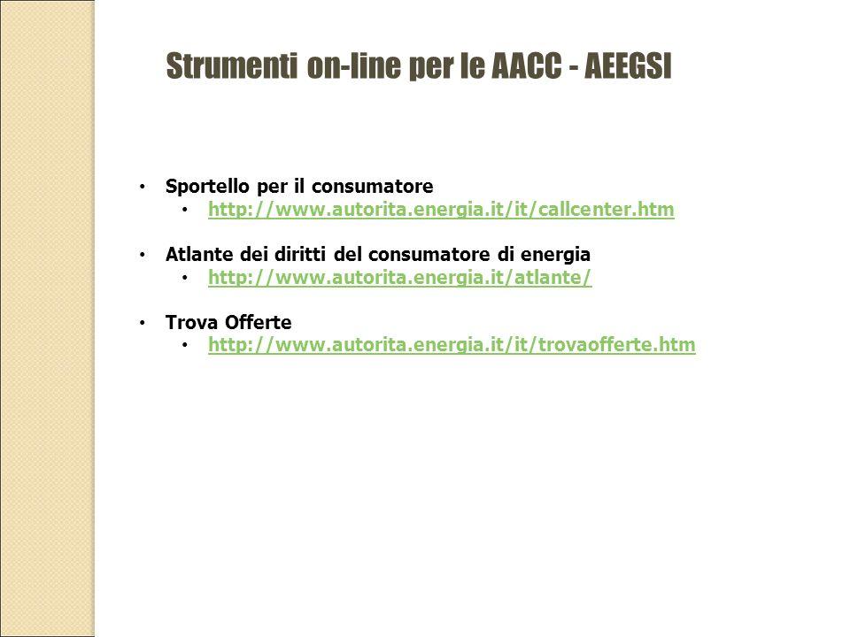 Strumenti on-line per le AACC - AEEGSI Sportello per il consumatore http://www.autorita.energia.it/it/callcenter.htm Atlante dei diritti del consumatore di energia http://www.autorita.energia.it/atlante/ Trova Offerte http://www.autorita.energia.it/it/trovaofferte.htm
