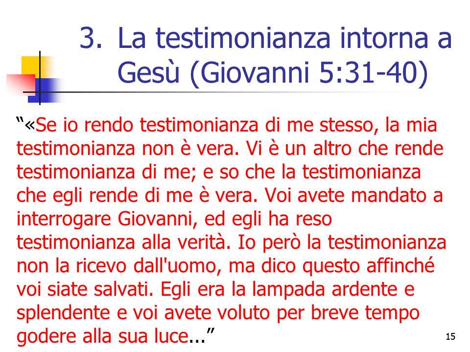 «Se io rendo testimonianza di me stesso, la mia testimonianza non è vera.