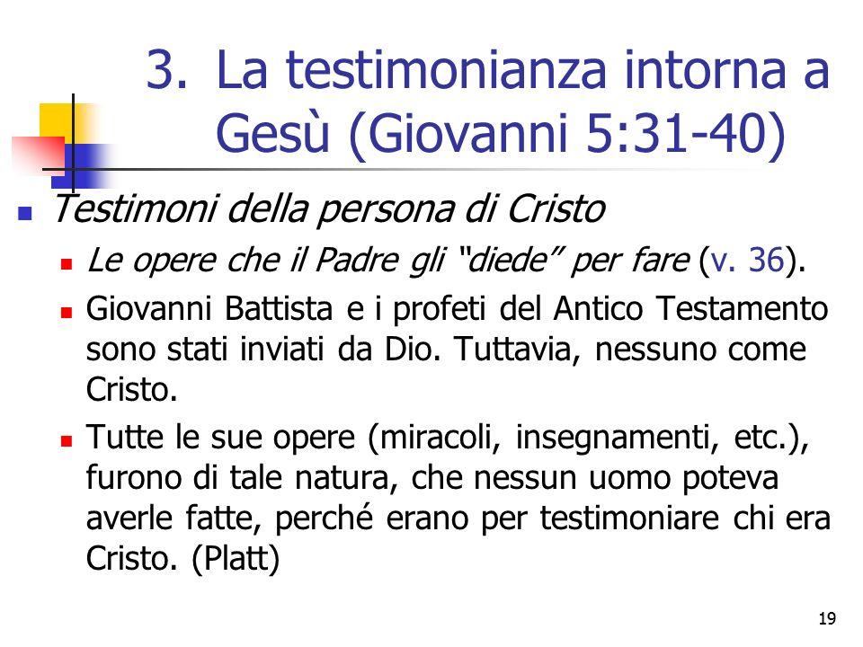 """Testimoni della persona di Cristo Le opere che il Padre gli """"diede"""" per fare (v. 36). Giovanni Battista e i profeti del Antico Testamento sono stati i"""