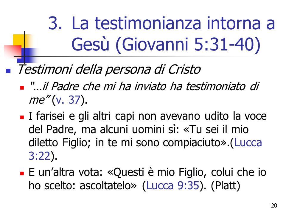 Testimoni della persona di Cristo …il Padre che mi ha inviato ha testimoniato di me (v.