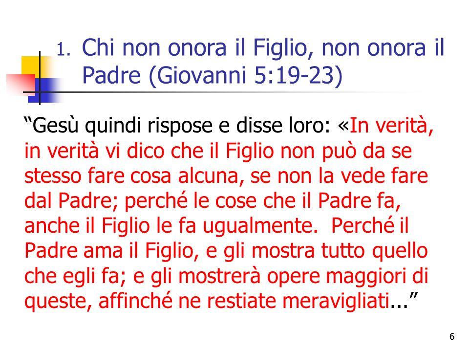 66 Gesù quindi rispose e disse loro: «In verità, in verità vi dico che il Figlio non può da se stesso fare cosa alcuna, se non la vede fare dal Padre; perché le cose che il Padre fa, anche il Figlio le fa ugualmente.