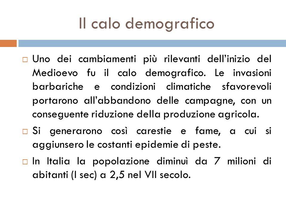 Il calo demografico  Uno dei cambiamenti più rilevanti dell'inizio del Medioevo fu il calo demografico.