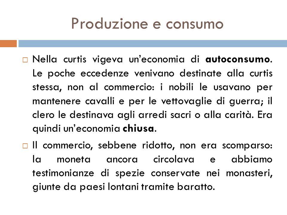 Produzione e consumo  Nella curtis vigeva un'economia di autoconsumo.