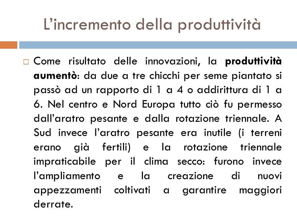 L'incremento della produttività  Come risultato delle innovazioni, la produttività aumentò: da due a tre chicchi per seme piantato si passò ad un rapporto di 1 a 4 o addirittura di 1 a 6.