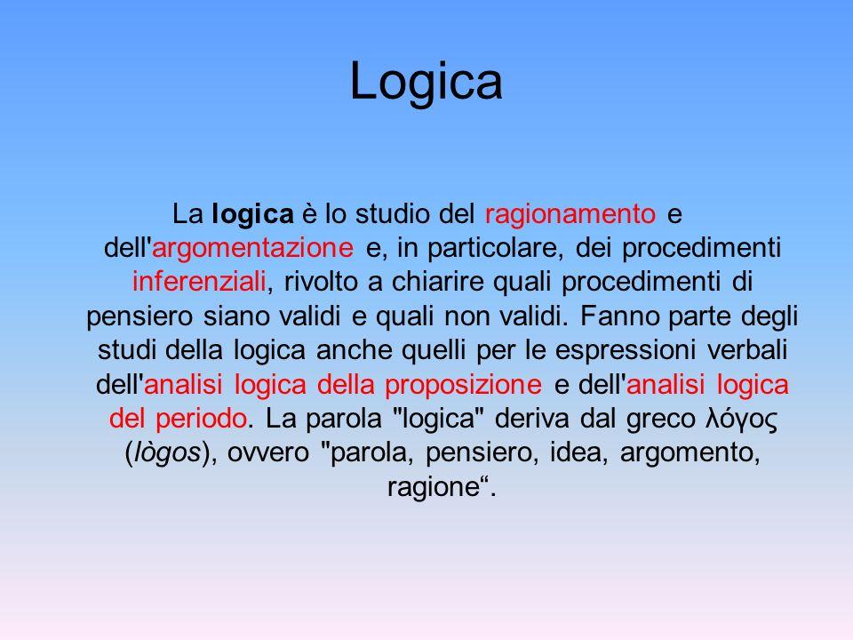 Logica La logica è lo studio del ragionamento e dell'argomentazione e, in particolare, dei procedimenti inferenziali, rivolto a chiarire quali procedi