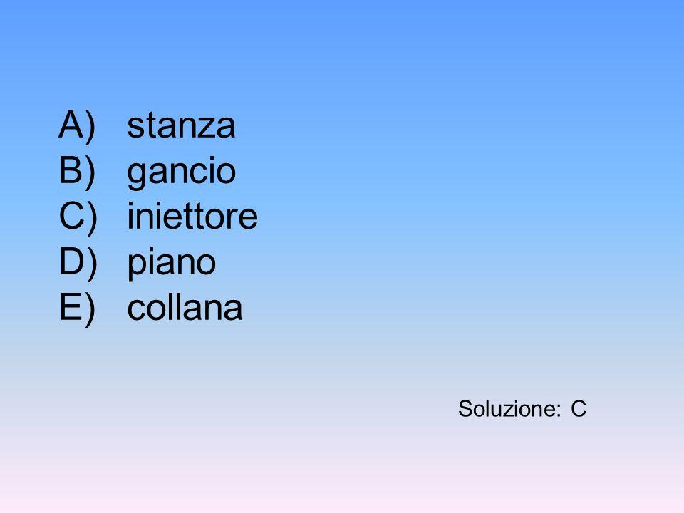 A)stanza B)gancio C)iniettore D)piano E)collana Soluzione: C