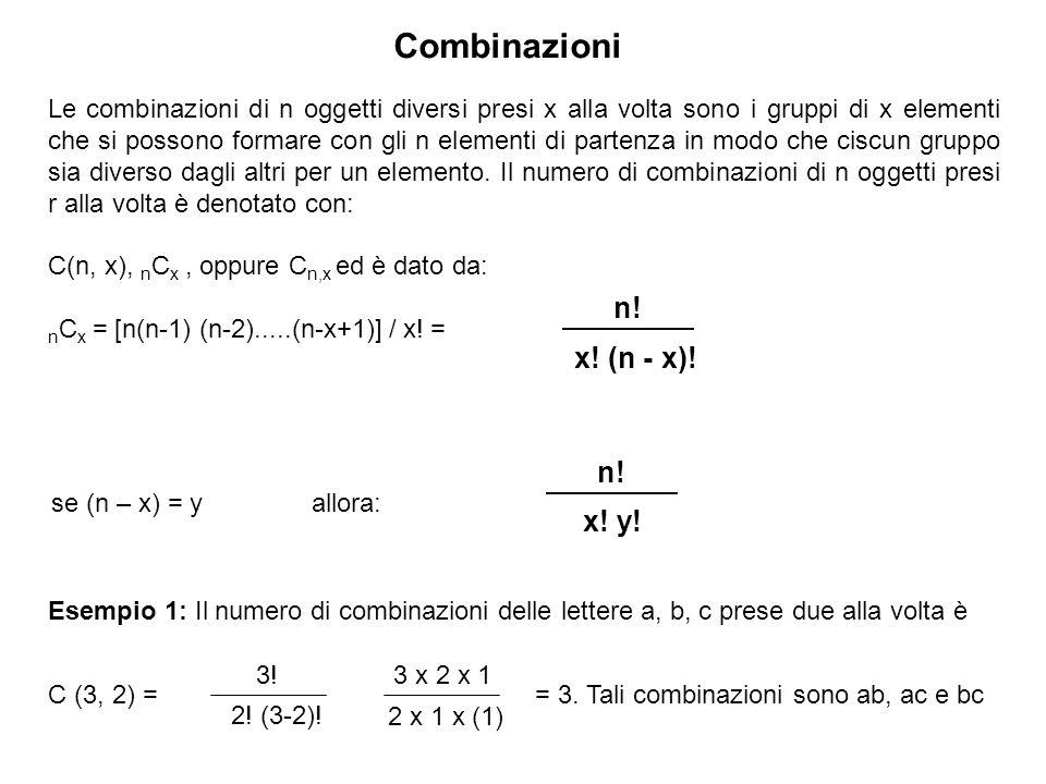 Combinazioni Le combinazioni di n oggetti diversi presi x alla volta sono i gruppi di x elementi che si possono formare con gli n elementi di partenza in modo che ciscun gruppo sia diverso dagli altri per un elemento.