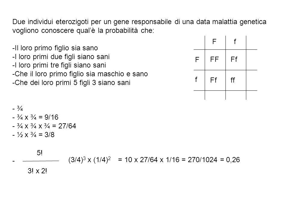 Due individui eterozigoti per un gene responsabile di una data malattia genetica vogliono conoscere qual'è la probabilità che: -Il loro primo figlio sia sano -I loro primi due figli siano sani -I loro primi tre figli siano sani -Che il loro primo figlio sia maschio e sano -Che dei loro primi 5 figli 3 siano sani - ¾ - ¾ x ¾ = 9/16 - ¾ x ¾ x ¾ = 27/64 - ½ x ¾ = 3/8 - F F f f FFFf ff 5.