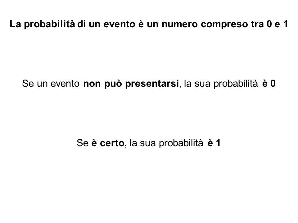 La probabilità di un evento è un numero compreso tra 0 e 1 Se un evento non può presentarsi, la sua probabilità è 0 Se è certo, la sua probabilità è 1