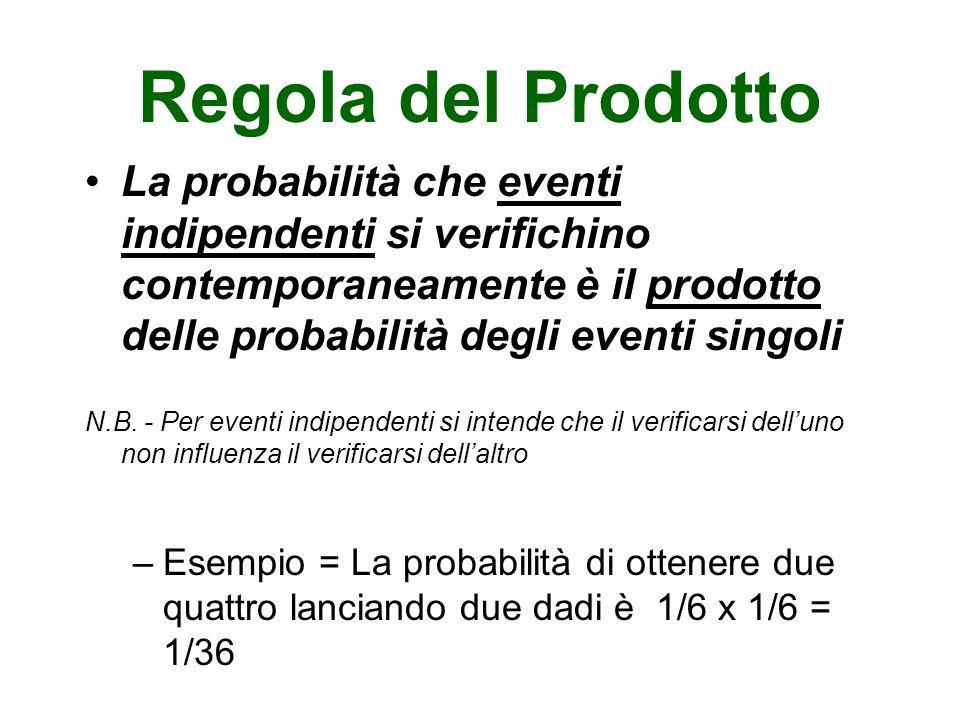 Regola del Prodotto La probabilità che eventi indipendenti si verifichino contemporaneamente è il prodotto delle probabilità degli eventi singoli N.B.