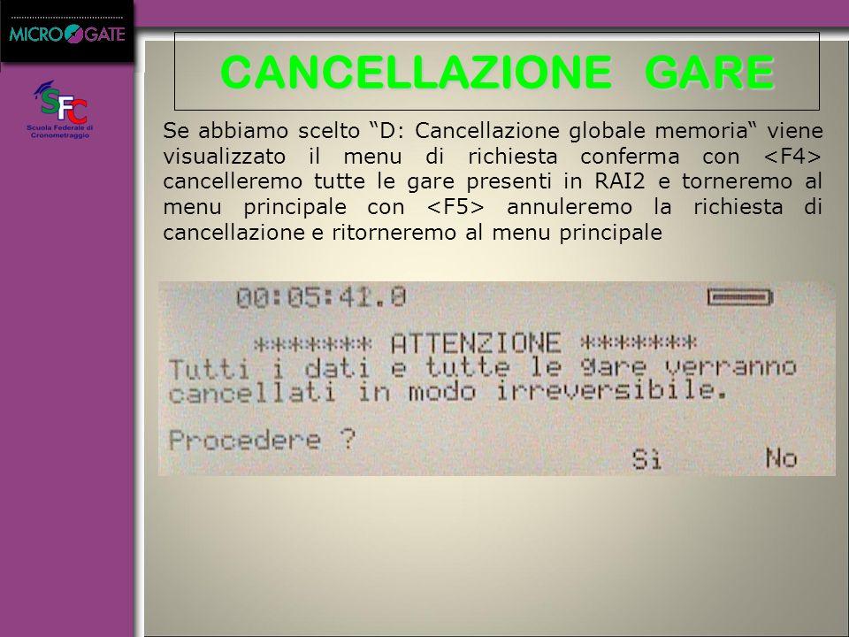 """CANCELLAZIONE GARE Se abbiamo scelto """"B: Cancellazione glogale memoria"""" viene visualizzato il menu di scelta gara con e ci spostiamo fra le gare con s"""