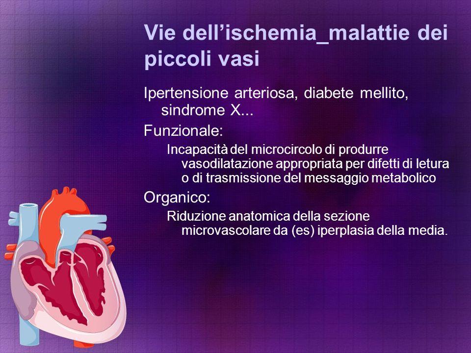 Vie dell'ischemia_malattie dei piccoli vasi Ipertensione arteriosa, diabete mellito, sindrome X... Funzionale: Incapacità del microcircolo di produrre