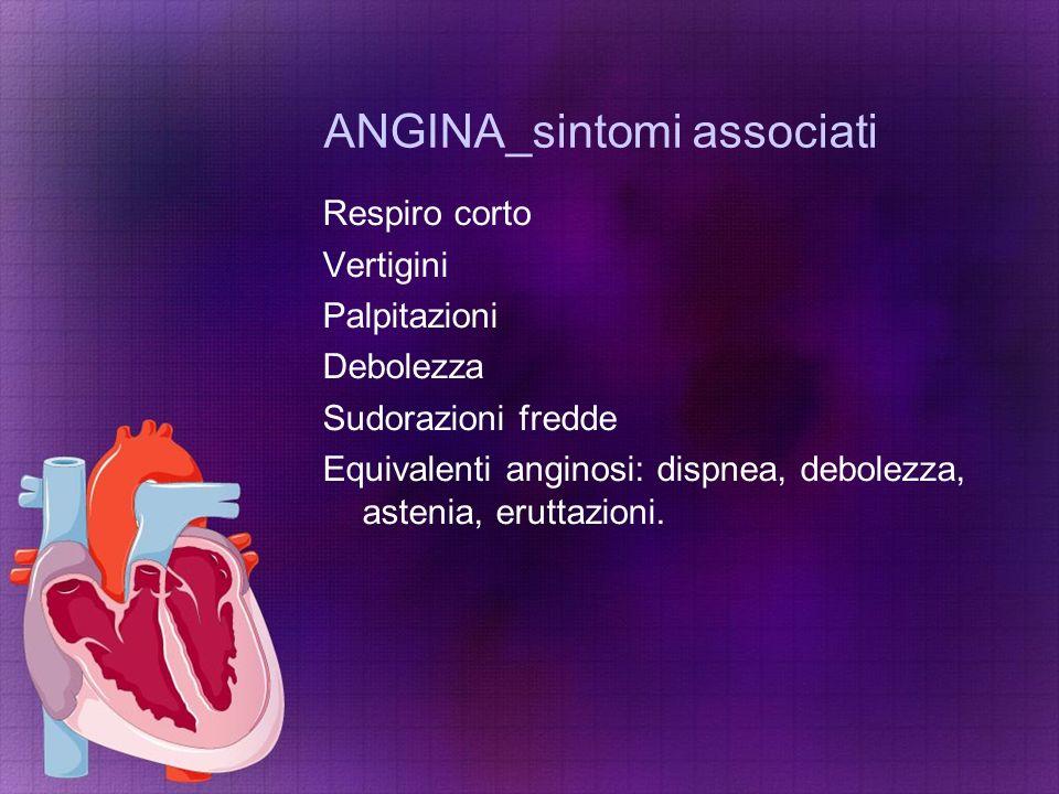 ANGINA_sintomi associati Respiro corto Vertigini Palpitazioni Debolezza Sudorazioni fredde Equivalenti anginosi: dispnea, debolezza, astenia, eruttazi
