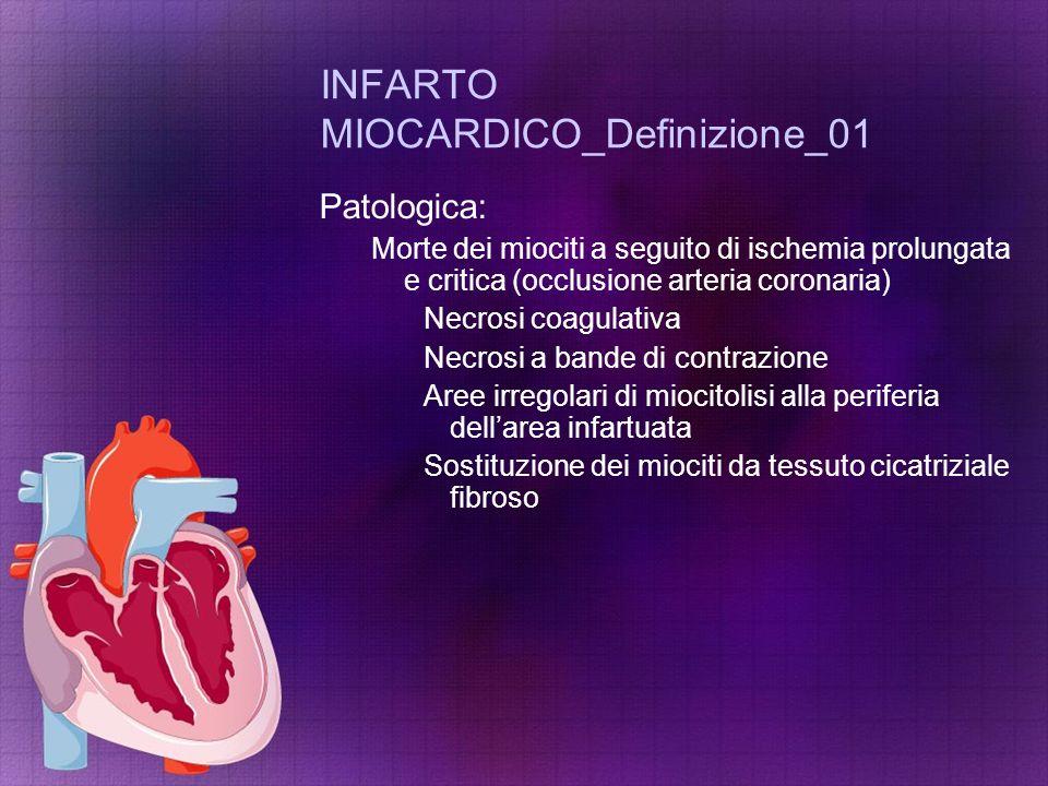 INFARTO MIOCARDICO_Definizione_01 Patologica: Morte dei miociti a seguito di ischemia prolungata e critica (occlusione arteria coronaria) Necrosi coag