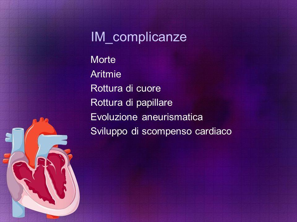 IM_complicanze Morte Aritmie Rottura di cuore Rottura di papillare Evoluzione aneurismatica Sviluppo di scompenso cardiaco