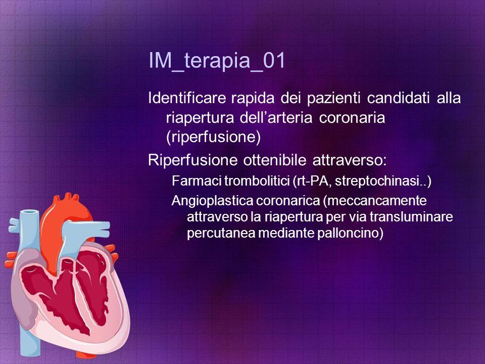 IM_terapia_01 Identificare rapida dei pazienti candidati alla riapertura dell'arteria coronaria (riperfusione) Riperfusione ottenibile attraverso: Far