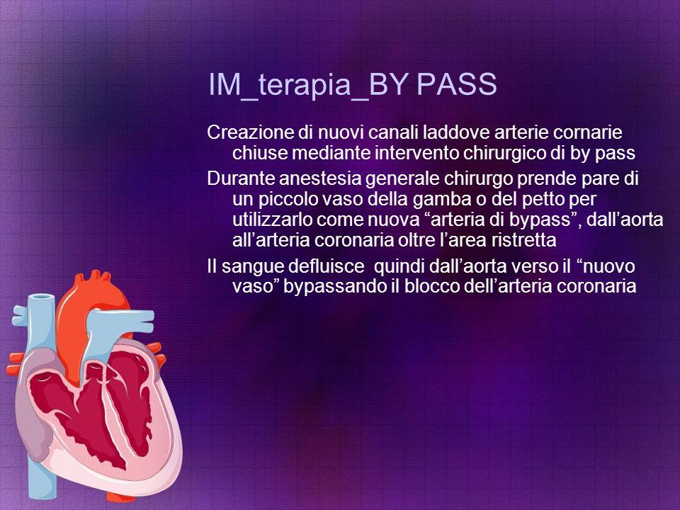 IM_terapia_BY PASS Creazione di nuovi canali laddove arterie cornarie chiuse mediante intervento chirurgico di by pass Durante anestesia generale chir