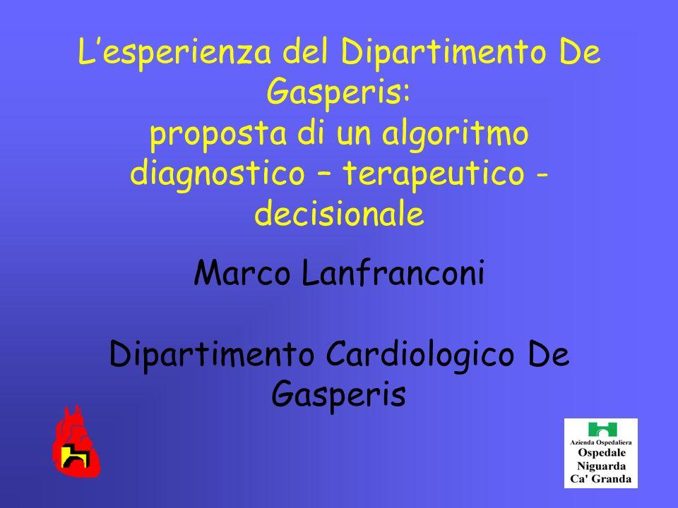 L'esperienza del Dipartimento De Gasperis: proposta di un algoritmo diagnostico – terapeutico - decisionale Marco Lanfranconi Dipartimento Cardiologic