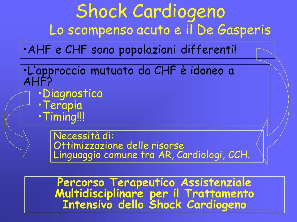 Lo scompenso acuto e il De Gasperis Shock Cardiogeno AHF e CHF sono popolazioni differenti! L'approccio mutuato da CHF è idoneo a AHF? Diagnostica Ter