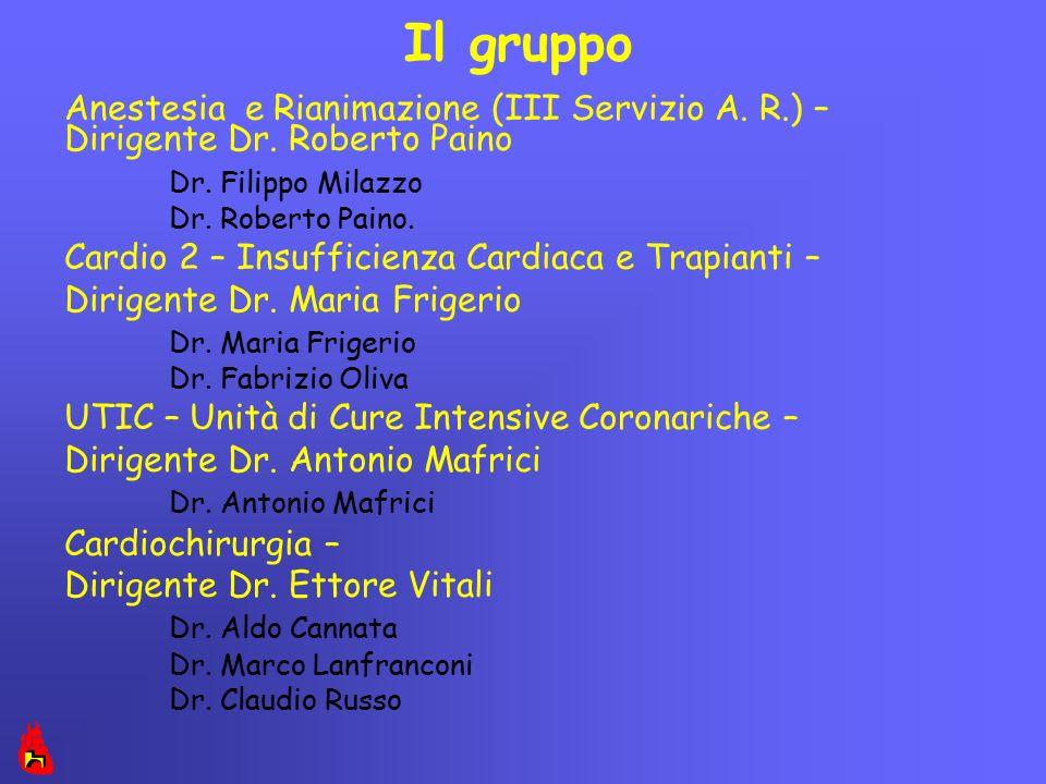 Il gruppo Anestesia e Rianimazione (III Servizio A. R.) – Dirigente Dr. Roberto Paino Dr. Filippo Milazzo Dr. Roberto Paino. Cardio 2 – Insufficienza