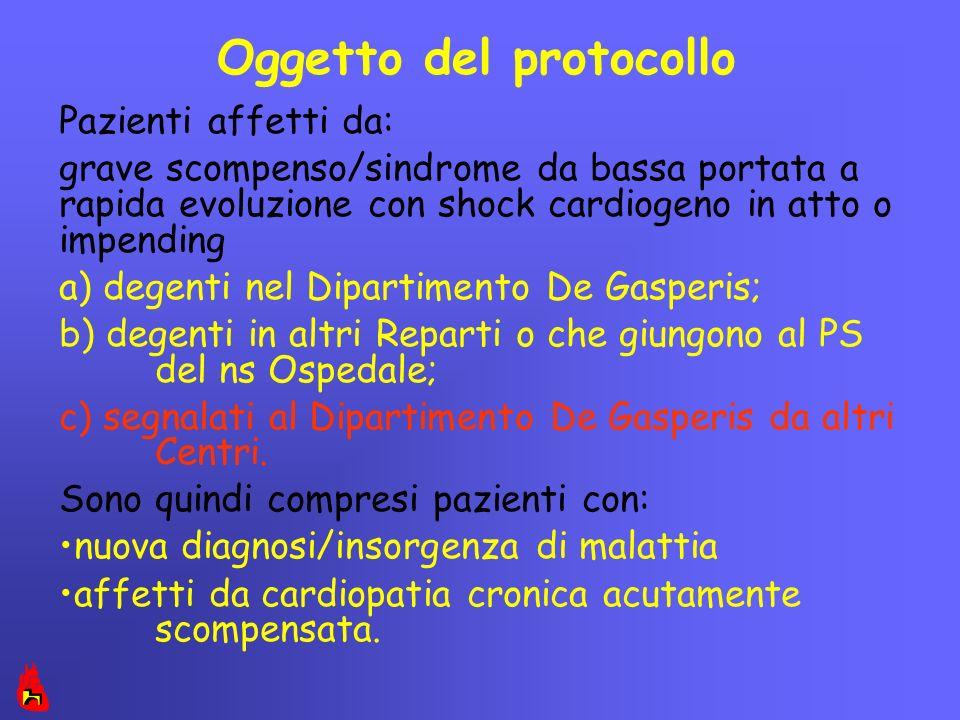 Oggetto del protocollo Pazienti affetti da: grave scompenso/sindrome da bassa portata a rapida evoluzione con shock cardiogeno in atto o impending a)
