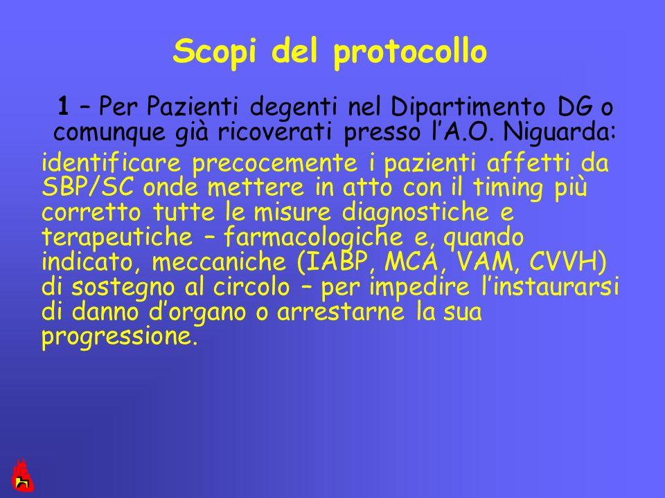 Scopi del protocollo 1 – Per Pazienti degenti nel Dipartimento DG o comunque già ricoverati presso l'A.O. Niguarda: identificare precocemente i pazien