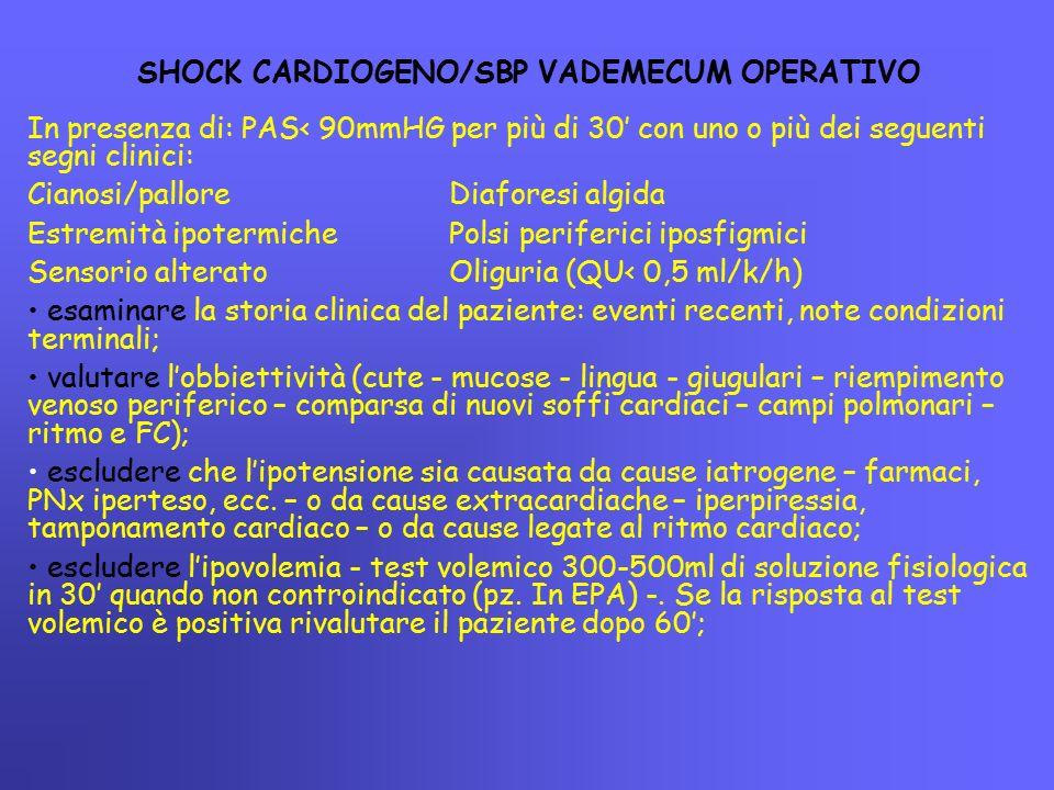 SHOCK CARDIOGENO/SBP VADEMECUM OPERATIVO In presenza di: PAS< 90mmHG per più di 30' con uno o più dei seguenti segni clinici: Cianosi/palloreDiaforesi