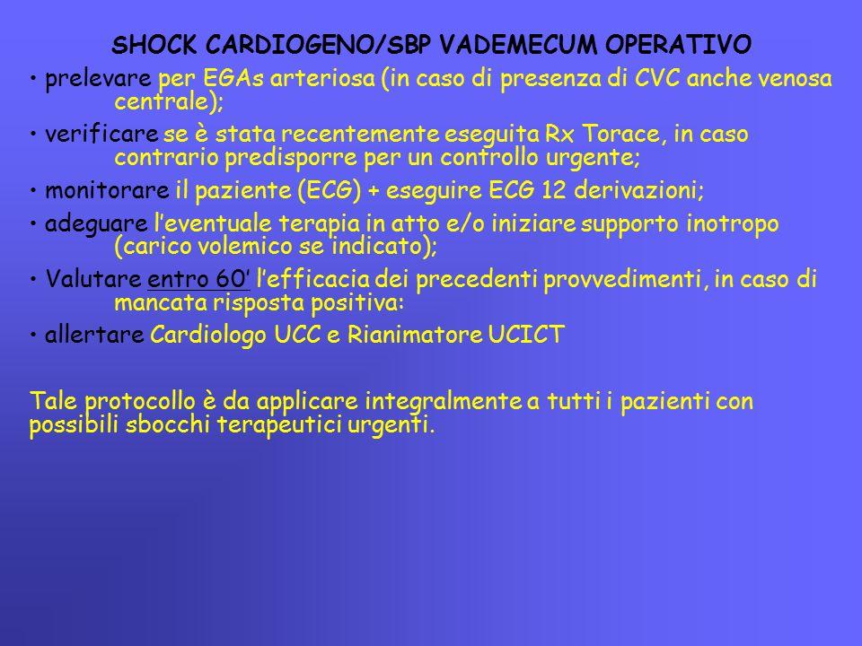 SHOCK CARDIOGENO/SBP VADEMECUM OPERATIVO prelevare per EGAs arteriosa (in caso di presenza di CVC anche venosa centrale); verificare se è stata recent