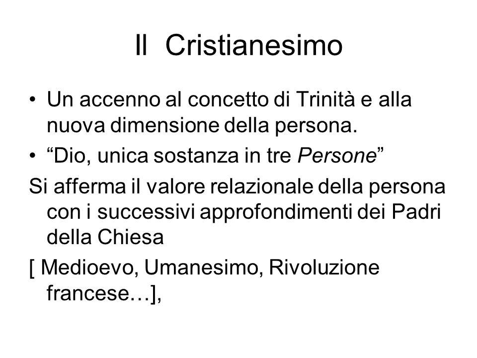 Il Cristianesimo Un accenno al concetto di Trinità e alla nuova dimensione della persona.
