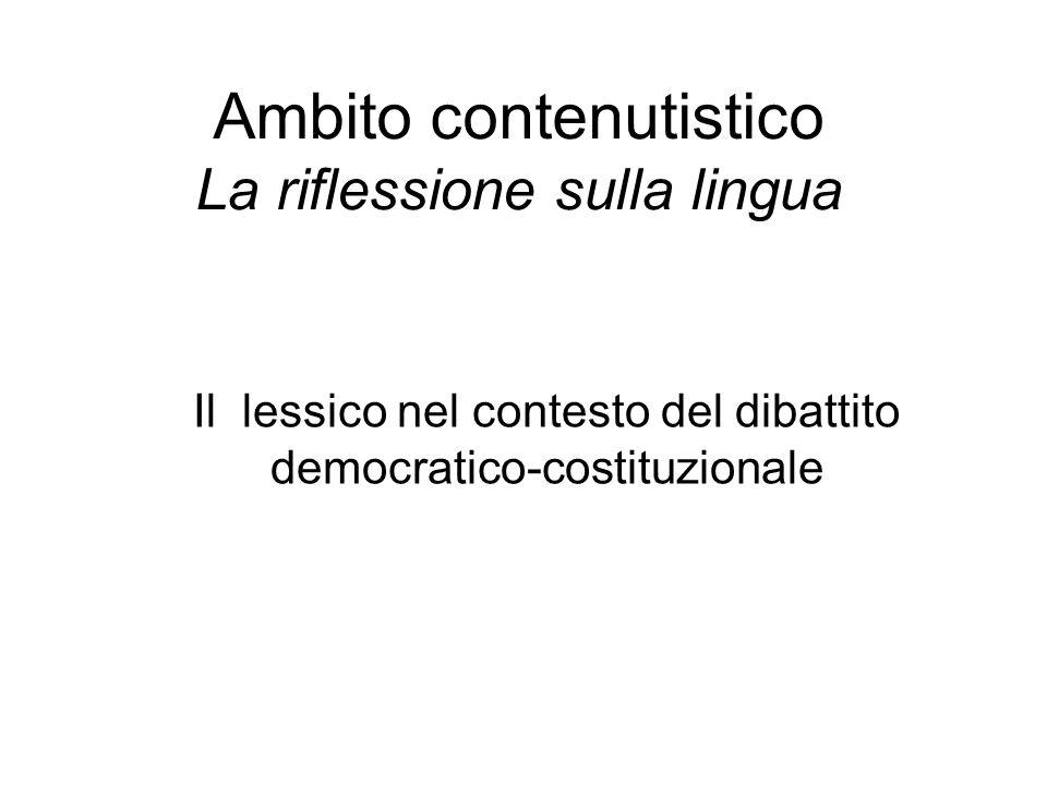 Ambito contenutistico La riflessione sulla lingua Il lessico nel contesto del dibattito democratico-costituzionale