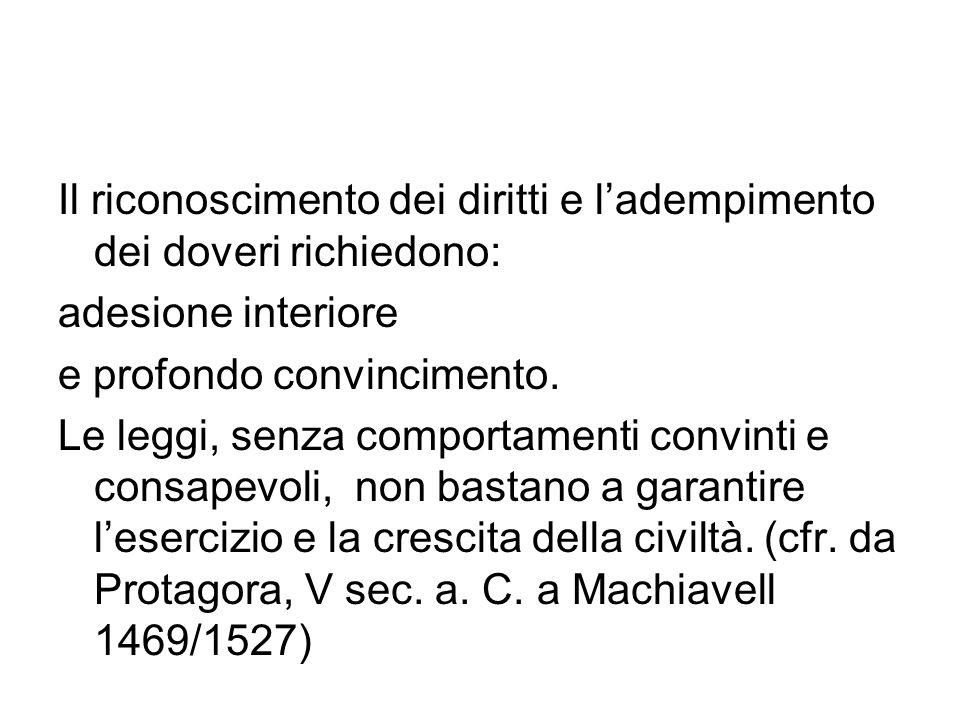 Il riconoscimento dei diritti e l'adempimento dei doveri richiedono: adesione interiore e profondo convincimento.