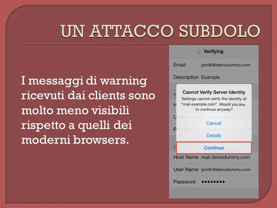 I messaggi di warning ricevuti dai clients sono molto meno visibili rispetto a quelli dei moderni browsers.