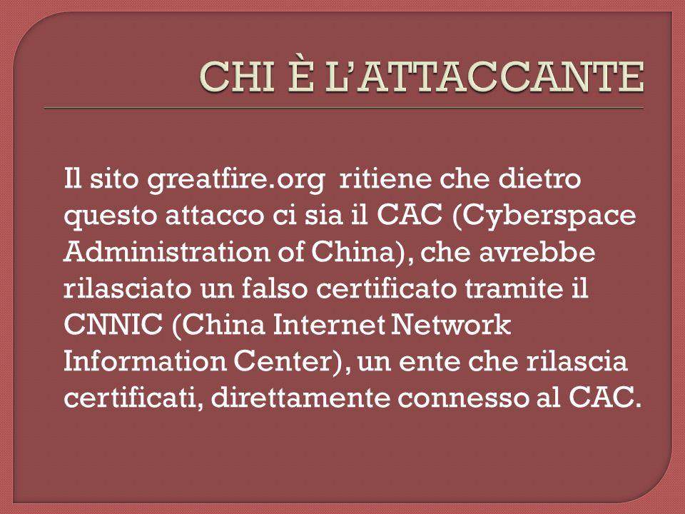 Il sito greatfire.org ritiene che dietro questo attacco ci sia il CAC (Cyberspace Administration of China), che avrebbe rilasciato un falso certificato tramite il CNNIC (China Internet Network Information Center), un ente che rilascia certificati, direttamente connesso al CAC.
