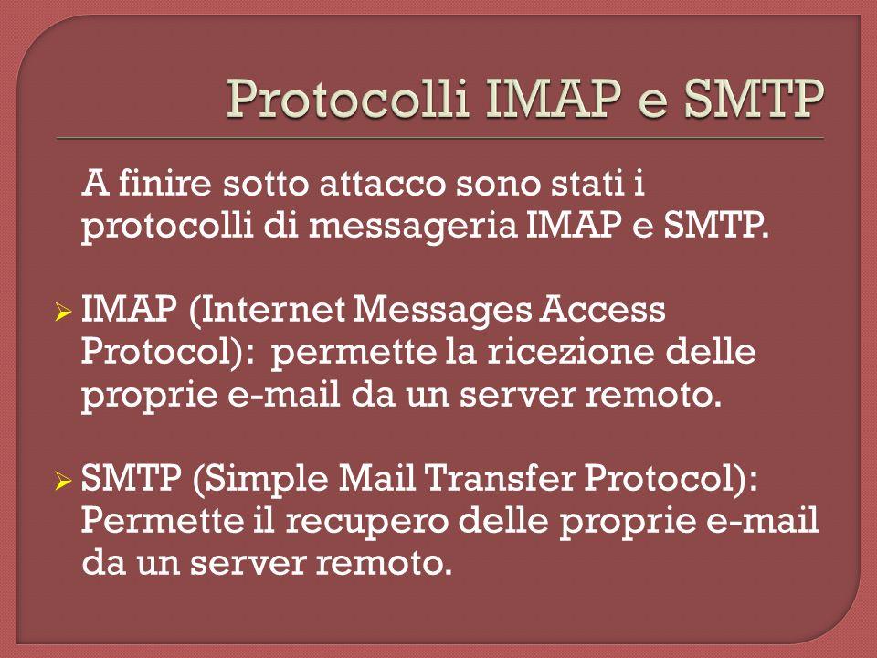 A finire sotto attacco sono stati i protocolli di messageria IMAP e SMTP.