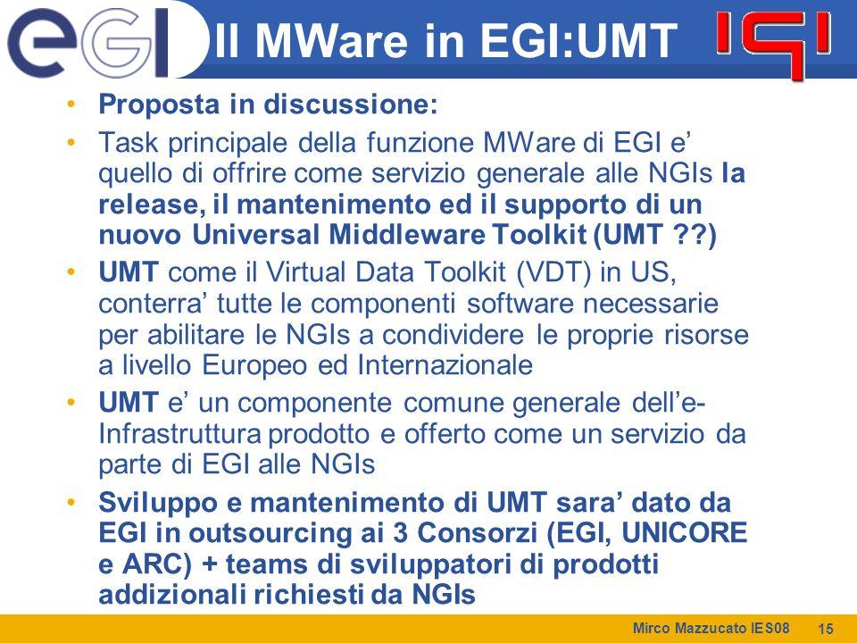 Mirco Mazzucato IES08 15 Il MWare in EGI:UMT Proposta in discussione: Task principale della funzione MWare di EGI e' quello di offrire come servizio generale alle NGIs la release, il mantenimento ed il supporto di un nuovo Universal Middleware Toolkit (UMT ) UMT come il Virtual Data Toolkit (VDT) in US, conterra' tutte le componenti software necessarie per abilitare le NGIs a condividere le proprie risorse a livello Europeo ed Internazionale UMT e' un componente comune generale dell'e- Infrastruttura prodotto e offerto come un servizio da parte di EGI alle NGIs Sviluppo e mantenimento di UMT sara' dato da EGI in outsourcing ai 3 Consorzi (EGI, UNICORE e ARC) + teams di sviluppatori di prodotti addizionali richiesti da NGIs