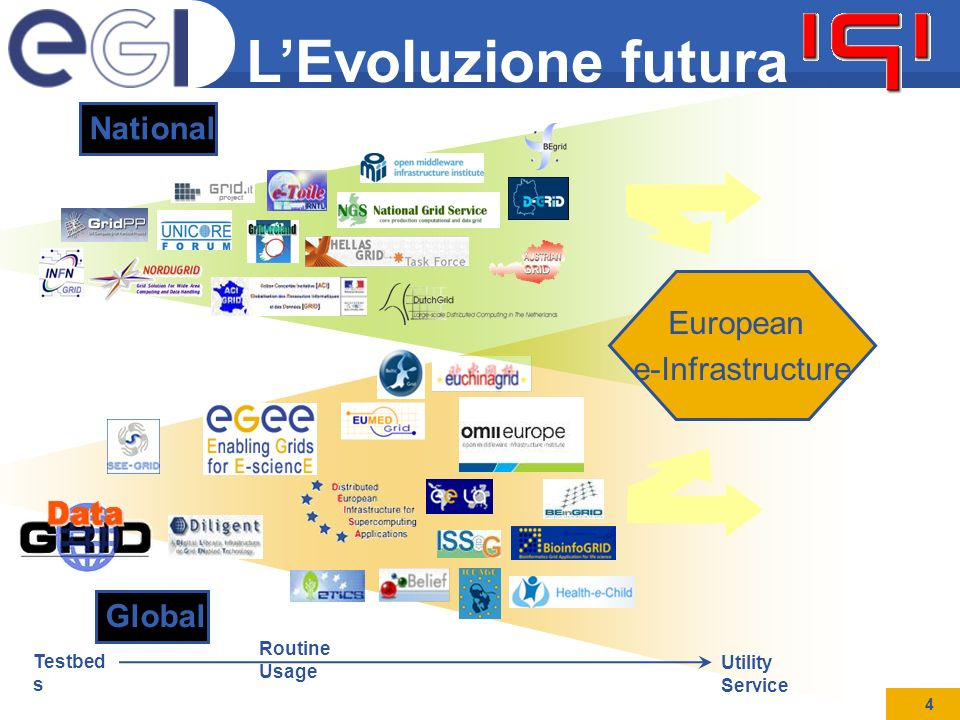 Mirco Mazzucato IES08 4 L'Evoluzione futura Testbed s Utility Service Routine Usage National Global European e-Infrastructure