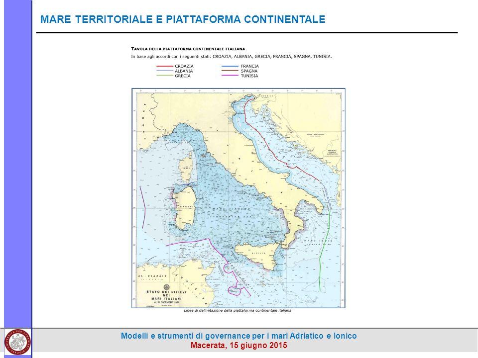 Modelli e strumenti di governance per i mari Adriatico e Ionico Macerata, 15 giugno 2015 MARE TERRITORIALE E PIATTAFORMA CONTINENTALE