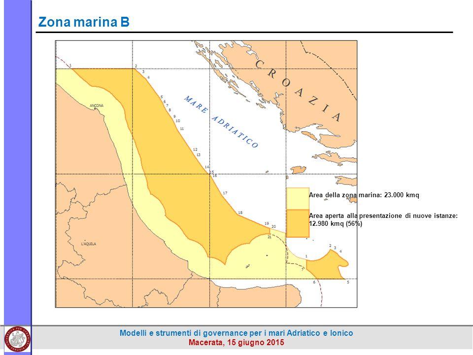 Modelli e strumenti di governance per i mari Adriatico e Ionico Macerata, 15 giugno 2015 Area della zona marina: 23.000 kmq Area aperta alla presentazione di nuove istanze: 12.980 kmq (56%) Zona marina B