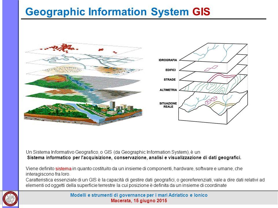 Modelli e strumenti di governance per i mari Adriatico e Ionico Macerata, 15 giugno 2015 Un Sistema Informativo Geografico, o GIS (da Geographic Information System), è un Sistema informatico per l acquisizione, conservazione, analisi e visualizzazione di dati geografici.