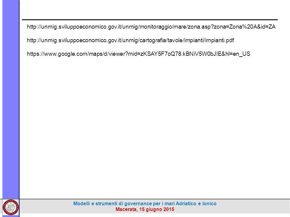 Modelli e strumenti di governance per i mari Adriatico e Ionico Macerata, 15 giugno 2015 http://unmig.sviluppoeconomico.gov.it/unmig/monitoraggio/mare/zona.asp?zona=Zona%20A&id=ZA http://unmig.sviluppoeconomico.gov.it/unmig/cartografia/tavole/impianti/impianti.pdf https://www.google.com/maps/d/viewer?mid=zKSAY5F7oQ78.kBNiV5W0bJIE&hl=en_US