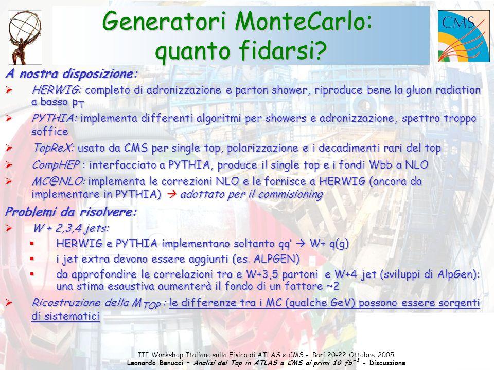 1 III Workshop Italiano sulla Fisica di ATLAS e CMS - Bari 20-22 Ottobre 2005 Leonardo Benucci – Analisi del Top in ATLAS e CMS ai primi 10 fb -1 - Discussione Le osservabili ottimali per la rivelazione del single top sono in via di definizione Molto lavoro su s-channel (il più difficile) e separazione s/t-channel  Asimmetria di carica: A c = (N(t) - N(tbar)) / (N(t) + N(tbar)) A c (s-channel, t-channel) ~ 0.25, A c (Wjj) ~ 0.07, A c (ttbar, Wt) ~ 0  Studio del rapporto / : riduce i sistematici da PDF  Canale s: carica del b-jet opposta a quella del leptone (AGiammanco, LesHouches '05) Il singolo top: lo vedremo a LHC.