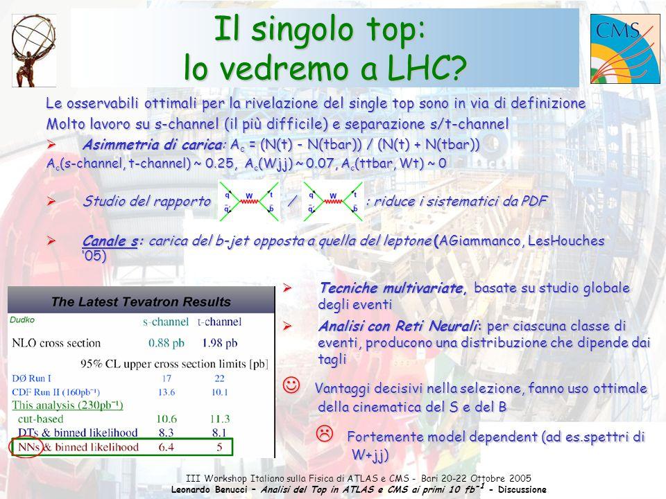 1 III Workshop Italiano sulla Fisica di ATLAS e CMS - Bari 20-22 Ottobre 2005 Leonardo Benucci – Analisi del Top in ATLAS e CMS ai primi 10 fb -1 - Discussione b-tagging: visione pessimista (realista) (realista)  Il top nel canale lept+jet può essere ricostruito:  1 Leptone isolato con p T > 20 GeV, MET > 20 GeV  Tagli severi su cinematica e numero dei jet: 4 esatti jet con p T > 40 GeV entro  R = 0.4  tra i combinatori: scelta dei boost trasversi più elevati  Bentvelsen, Cobal et a.:  Studio in Full Simulation, Trigger Efficiency inclusa, fondi W+4j e QCD inclusi  il Top può essere ricostruito con efficienza 4.5% (se solo segnale) e 0.9% (segnale+background)  vedi Andrea D.