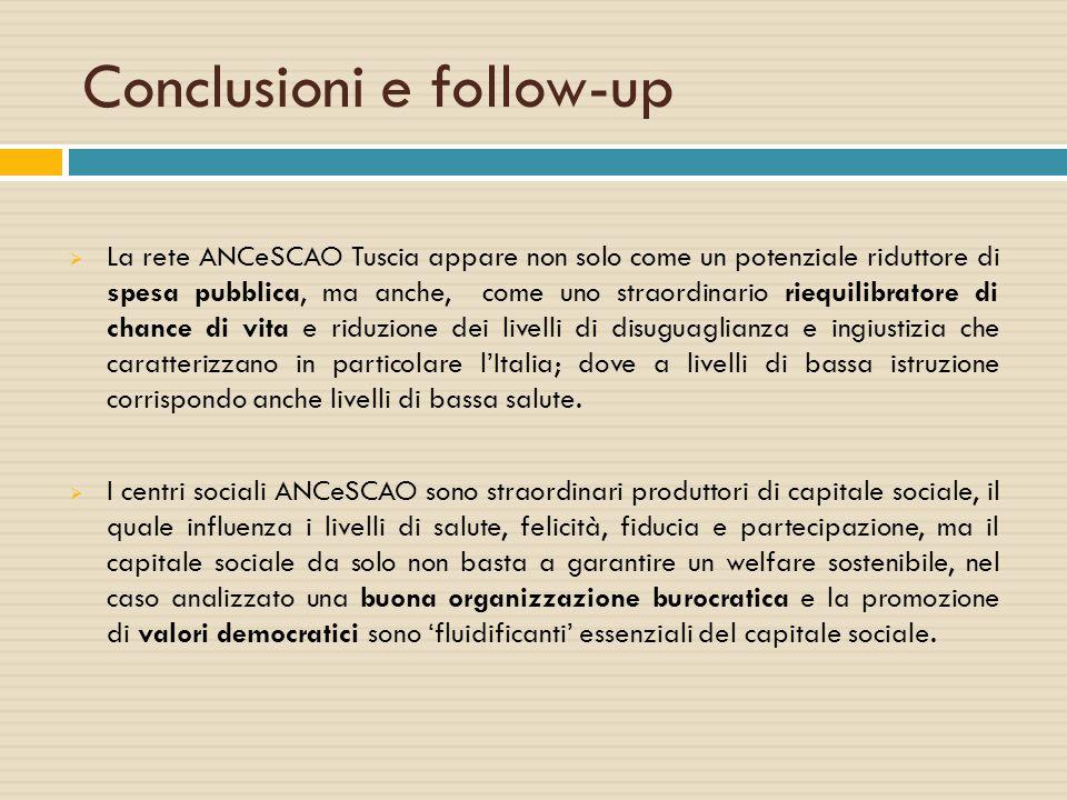 Conclusioni e follow-up  La rete ANCeSCAO Tuscia appare non solo come un potenziale riduttore di spesa pubblica, ma anche, come uno straordinario rie